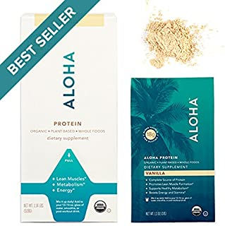 ALOHA Organic Plant-Based Protein Powder, Vanilla, 1.14 Pounds (518g) (Packaging May Vary)