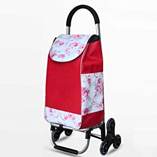 Djyyh Lightweight Shopping Trolley Aluminum Alloy with 6 Wheels Climbing Stairs Large Capacity Folding Supermarket Push Pull Car (Color : Red)