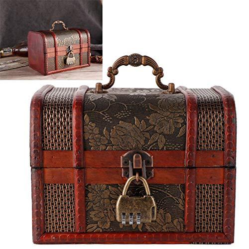 Caja de almacenamiento de joyería roja cinabrio Madera de cedro con cerradura codificada
