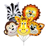 BALONAR 5pcs 32 Inch Tiger Lion Zebra Monkey Graffe Foil Balloons Animal Balloons for Child Birthday Party Supplies Cute Baby Shower Decorations