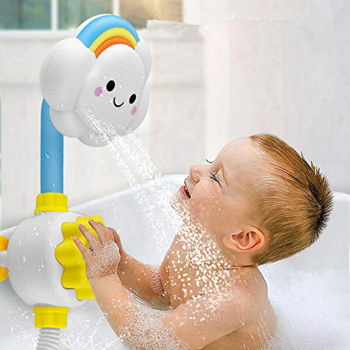 JTENGYAO Baby Bath Toy, Cloud Bathtub Shower Toy Water Spray Head Game Bathing Spouts Suckers Folding Spray Faucet for Toddlers Kids Boys Girls Child