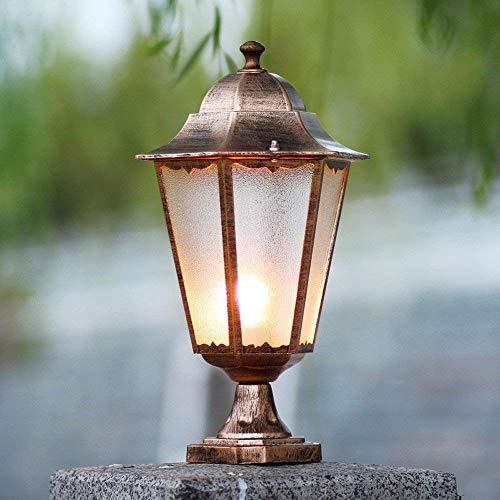 Außenleuchten E27 Gartensäulenlampe Wasserdicht IP65 Glas Dekor Säulenlampe Desktop Patio Rasenbeleuchtung für Gartenhöfe Wege Straßen (Bronze) für Innenbeleuchtung/Außenbeleuchtung