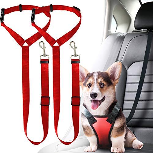 Musonic 2 Packs Dog Cat Safety Seat Belt Strap Car Headrest Restraint Adjustable Nylon Fabric Dog Restraints Vehicle Seatbelts Harness (Red)