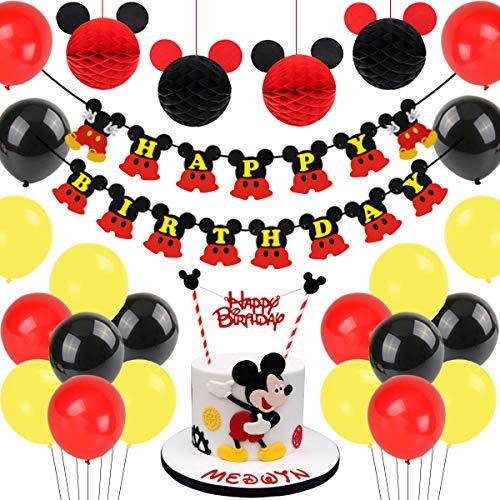 Decoraciones de cumpleaños de Mickey Mouse, bolas de nido de abeja de Mickey Paper de Red Black, banner de Happy Birthday, adorno de pastel para la fiesta temática de Mickey Mouse