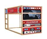 Stikkipix Feuerwehrbett Möbelfolie selbstklebend/Aufkleber - IM209 - passend für das Kinderzimmer Hochbett KURA von IKEA - Möbel Nicht Inklusive