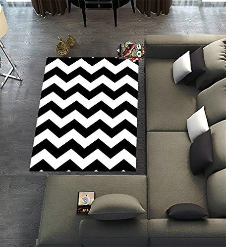 "Custom Stripe Area Rugs Carpet,Black White Chevron Zigzag Stripe Pattern Modern Carpet Floor Rugs Mat for Home Living Dining Room Playroom Decoration Size 5'x3'3"""
