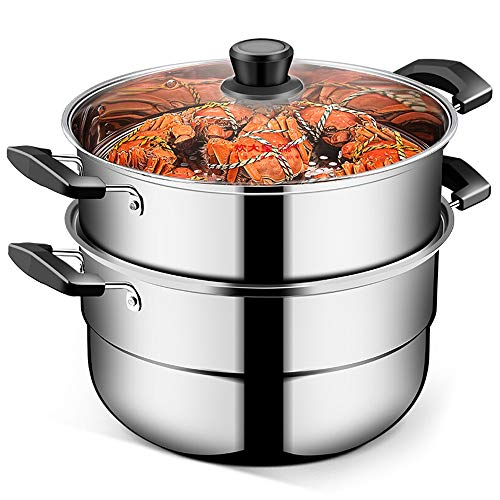 XF Cuiseurs à asperges et légumes Réchaud à vapeur en acier inoxydable à deux couches Réchaud à vapeur Réchaud à gaz à double couche Cuisinière à gaz pour réchaud à induction Casseroles, poêles et fai