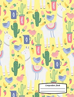 """Composition Book: 8.5"""" x 11"""" - Fancy Llamas and Cacti with Birds on Yellow Background Notebook for School or Activities, S..."""