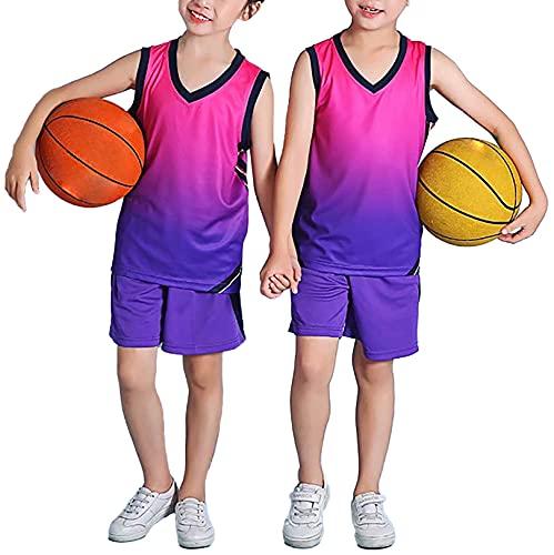 FEESHOW Kinder Jungen Mädchen Basketball Trikot Anzug 2 Stück Sommer Sport Trainingsanzug Athletic Loungewear ärmelloses Weste Tops und Shorts Set Lila_E 134-140