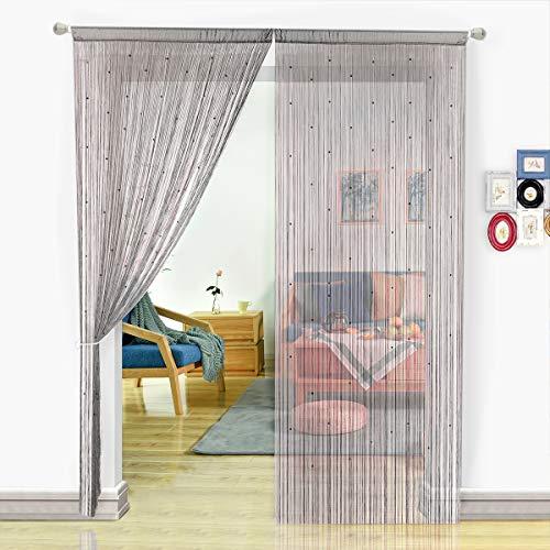 Pantalla de cortinas de cuerdas HSYLYM con cuentas,para decoración del hogar,poliéster,Gris,90x245cm