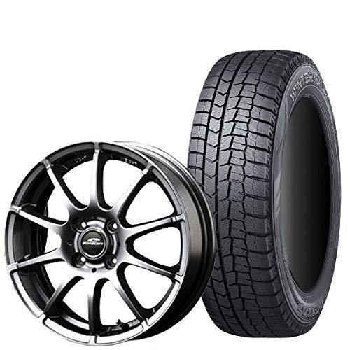 ダンロップ スタッドレス タイヤ・アルミホイール 4本セット WINTER MAXX WM02 155/65R14 シュナイダースタッグ/ウインターマックス ゼロツー