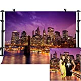 MME 10x7Ft New York City Background Beautiful Brooklyn Bridge Night Seamless Vinyl Background Video Studio Photograph Backdrop LXME599