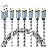 6Pack (3ft,3ft,6ft,6ft,10ft,10ft) Nylon Braided Charging Cord Charger Compatible with Phone11 Plus X/8/8Plus 7/7 Plus/6s/6s Plus/6/6 Plus/5s/55se,Pad,Pod-Gray&White