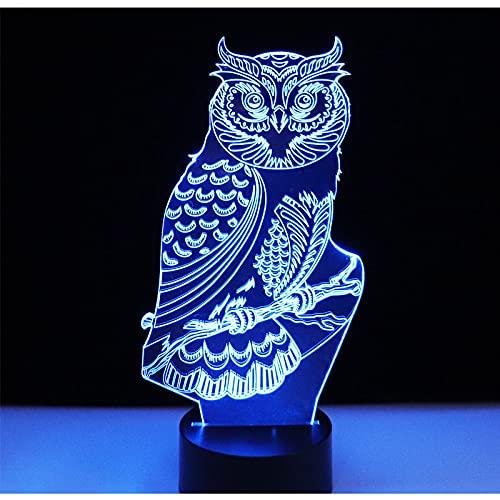 Eld Luces de Noche LED 3D Búho Espiritual con luz de 7 Colores para la lámpara de decoración del hogar Visualización increíble Ilusión óptica Regalo del día de los niños Impresionante