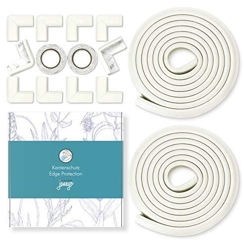 JANEYO - 6m Kantenschutz & 10 x Eckenschutz Set für Kinder und Babys - optimale Sicherheit als Tischkantenschutz & Eckschutz - Schrank & Tisch Kindersicherung für alle Ecken und Kanten (weiß)