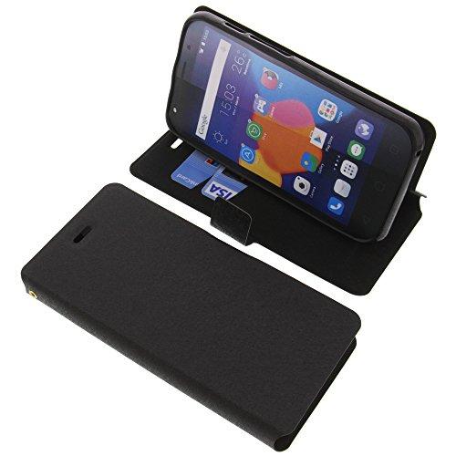 foto-kontor Tasche für Alcatel One Touch Pixi 4 5.0 3G Book Style schwarz Schutz Hülle Buch