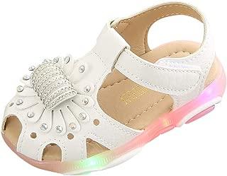 Soft Bottomed Beach Shoes,Children Baby Girl Crystal Flower Led Light Luminous Sport Sandals Sneaker Shoes