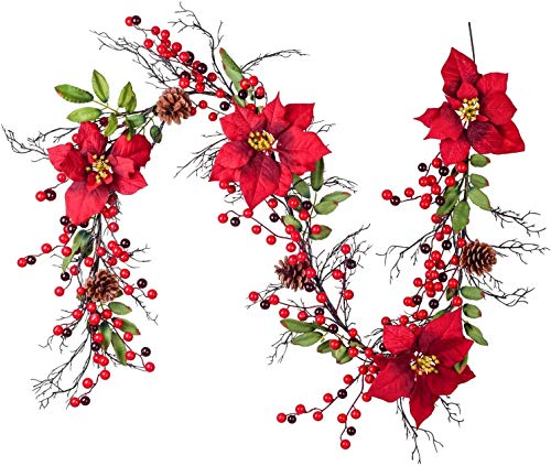 hhkty 5.3 Ft Berry Christmas Garland, Artificial Poinsettia Garland with Red Berries and Holly Leaves, Pine Cone Garland for Winter Holiday New Year Decor