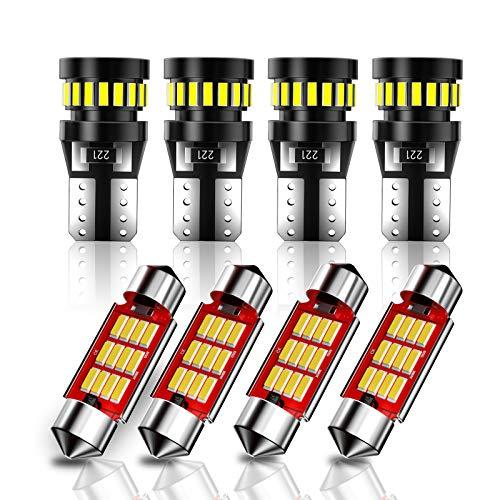 CCAUTOVIE Kit de luces LED para de coche sin errores Canbus 8PCS T10 W5W bombillas LED para coche,superbrillantes Festoon C5W 36 mm bombillas LED para interior de coche domo mapa puerta, placa luces