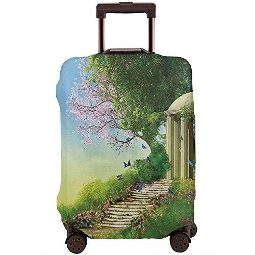 Reisegepäck-Abdeckungs-Pavillon an der Spitze eines Hügels mit Steintreppen und Blumen-magischer mittelalterlicher Land-Koffer-Schutz Größe L