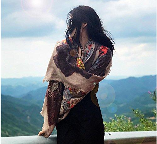 RZ.hs Las Mujeres hirvieron la Bufanda Fina de Las Lanas Las señoras Calzan el Chal Grueso Pashmina 190 * 130cm, Color del Caramelo