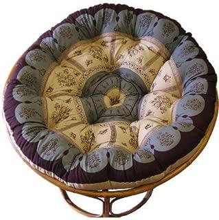 Cotton Craft Overstuffed Round Papasan Cushion, Floral Chocolate