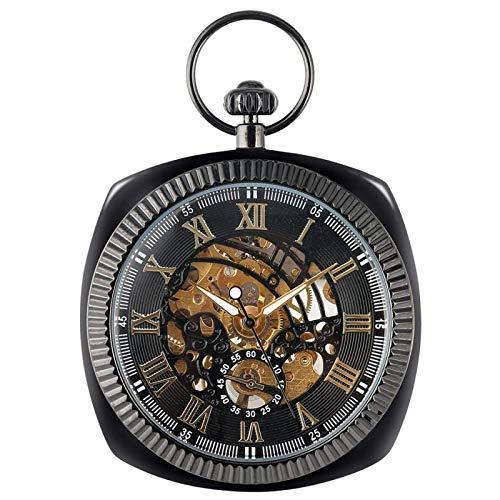ZYYH Reloj de Bolsillo con Cadena Retro Negro Cuerda Manual Mecánica Azul Números Romanos Colgante de exhibición Reloj de Lujo Vintage Hombres Mujeres