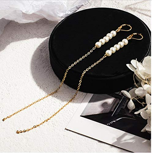 Nobranded Charm simulated pearl long tassel earrings for women gold colour cold style earring jewellery gift
