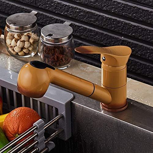 Faucet Bocca girevole Kitchen Sink Mixer Rubinetti colpetto della cucina con divano mano Spray miscelatore monocomando, tradizionale vittoriana monoblocco lavabo rubinetto maniglia vasca da bagno fred