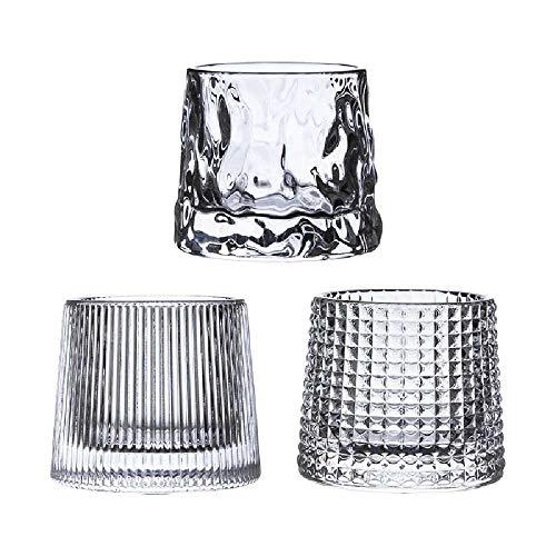 N\C Vaso de vidrio giratorio de descompresión barra de copa de vino engrosado vaso de whisky 3 piezas set