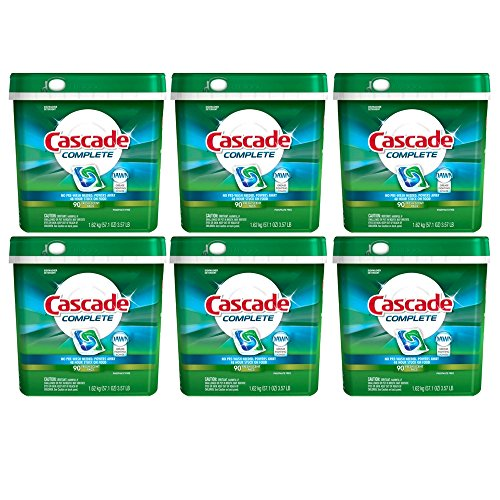 Cascade Complete Dishwasher Detergent, with Dawn Grease Fighting Power, 90 Fresh Scent Action Pacs (Pack of 6)