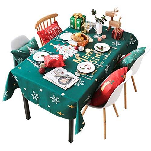 Kerstdag tafelkleed Nordic Stof waterdichte stof-plein Anti-broeien Disposable Oval Eettafel Cover Coffee Table (Color : Green, Size : 85 * 85cm)