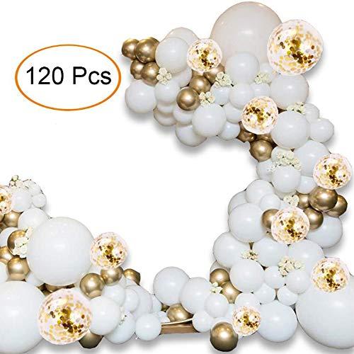 NANDAN Der Ballon Gewölbte Kranz Kit - 120 PCS 5M, Mit Goldenen Weißen Konfetti Luftballons Und Partymetall Ballons Baby-Dusche Geburtstag Junggesellinnenabschied Hintergrunddekoration