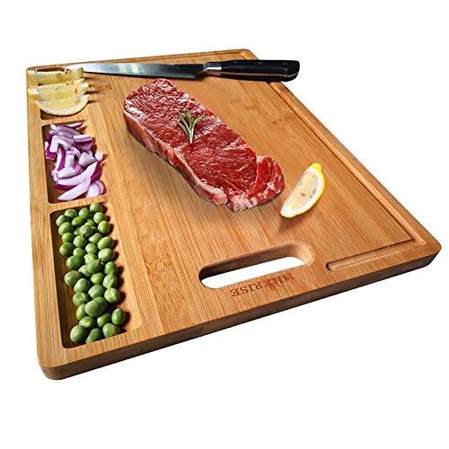 YUDIZWS Tabla de cortar de bambú con asa, bandeja de jugo y 3 compartimentos integrados, 38 x 10 x 25 cm, tabla de queso de madera pesada para carne, pan y frutas, tamaño mediano, marrón