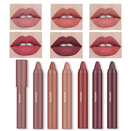 Ownest 6 Colors Matte Crayon Lipstick,Matte Velvet Lipstick Makeup Smooth Lipstick Set Waterproof Long Lasting Moisturizing Lipstick Crayons for Women-Set B