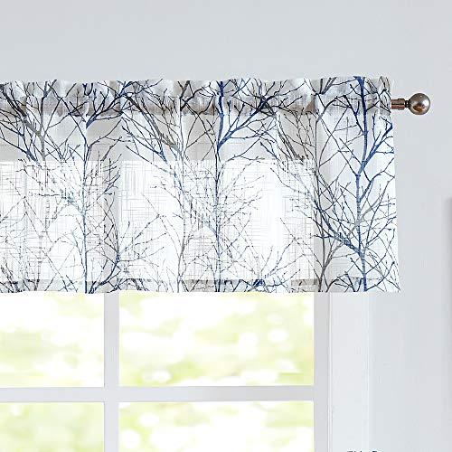 "Fmfunctex White Valance Curtains for Windows Print Tree Branch Semi-Sheer Valance Grey/Blue,1 Panel, 50"" Width x 15"" Length"