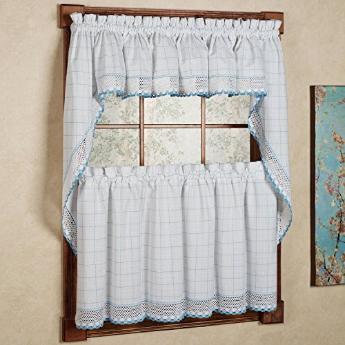"""Sweet Home Collection 5 Pc Kitchen Curtain Set-Valance Swag Choice of 24"""" or 36"""" Tier Pair, Adirondack White/Blue"""