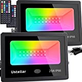 USTELLAR 2 Pack 25W RGB LED Flood Lights Color Changing Floodlight Indoor Outdoor Uplighting Floor Lamp Uplight Christmas Spotlight Wall Washer Light Garden Landscape Party Stage Lights Halloween