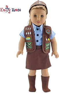 Emily Rose 18 Inch Doll Clothes for American Girl Dolls   Doll Brownie Girl Scout Modern 5 Piece Uniform Outfit with Skort!   Gift Boxed!   Fits 18