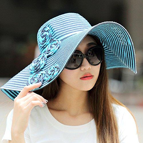 LLZTYM Cappello/Ragazza/Estate/Bordo Largo/Cappello da Sole/Viaggio/Cappello da Spiaggia/Mare/Vacanze/Cappello di Paglia/Ombrellone/Crema Solare/Copricapo/Regalo/Regalo, Blu