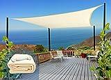 Rabbuz Ideas Toldo Vela Rectangular Sombra, 3 x 4 m, protección Rayos UV, Transpirable HDPE para Exteriores, Jardín,Patio o Terraza, Color Crema