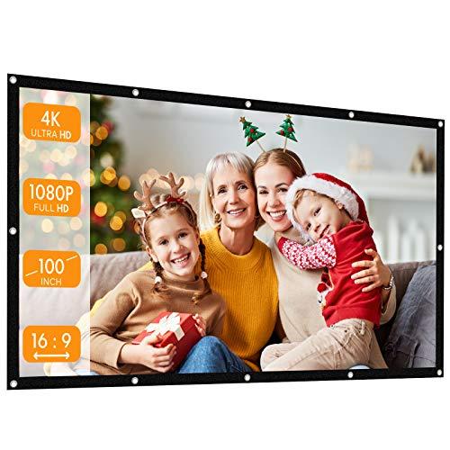 Beamer Leinwand, APEMAN 100 Zoll Full HD Tragbar Projektionswand, Unterstützung 1080P UNH 4K, Faltenfrei, Einfache Installation, Demontage spurlos, für Heimkino/Business/Freiluftkino[16:9, 221x124cm]