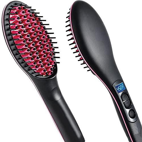 Escova Ionic Hair Straightener,30s Fast Ceramic Heating Hair Straightening Brush,Pente Alisador Elétrico Seda Frizz-free Portátil Com Lcd E Função De Ajuste De Temperatura