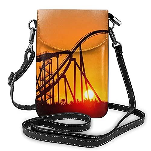 Lsjuee Park Sunset Roller Coaster femmes en cuir téléphone sac à main téléphone portable mignon pochette sac à bandoulière sacs à bandoulière