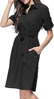 24d9c6325 Vestido de Manga Corta Mujer SUNNSEAN Vestidos Recortados con Cordón Color  Sólido de Moda para Mujer
