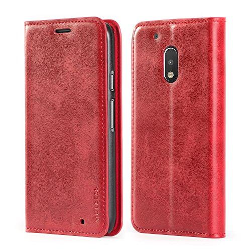 Mulbess Funda Motorola Moto G4 Play [Libro Caso Cubierta] Slim de Billetera Cuero Carcasa para Motorola Moto G4 Play Case, Vino Rojo