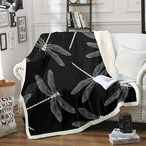 Loussiesd Manta de forro polar con diseño de libélulas, para sofá, cama, insectos, diseño de animales, manta de sherpa, manta negra y blanca, decoración de habitación de bebé, 76,2 x 101,6 cm