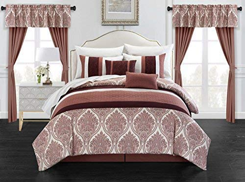 Chic Home Vivaldi 20 Piece Comforter Set Medallion Quilted Embroidered Design Complete Bag Bedding – Sheets Decorative Pillows Shams Window Treatments Curtains Included, King, Brick