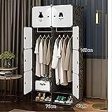 Armario Cuarto Black Dormitorio Muebles Montaje Conjunto Plegable Gabinete de Almacenamiento Portátil Muebles de Dormitorio Claro UOMUN (Color : Gray)