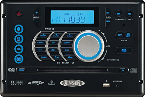 Jensen AWM968 AM/FM/CD/DVD/USB Bluetooth Stereo, Front USB supports MP3/WMA, DVD Player CD, CD-R, CD-RW, DVD/DVD R, DVD RW, DVD-R, DVD-RW, DVD-Video, MPEG-4, VCD, JPEG and MP3/WMA Compatible (Renewed)